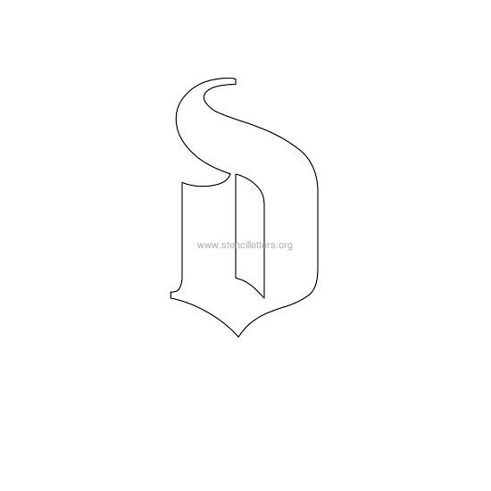 Lowercase Old English Wall Stencil Letter D