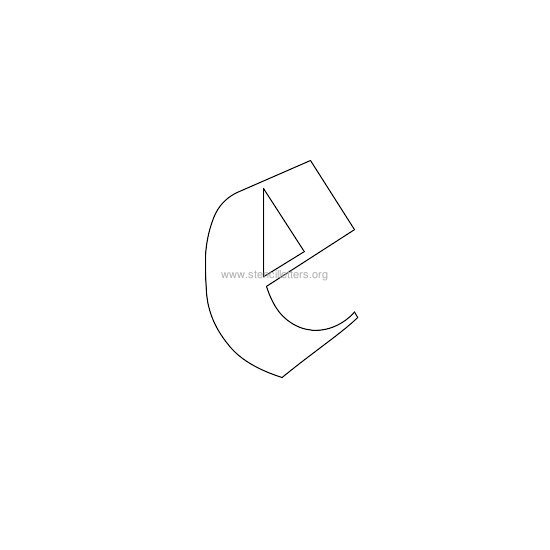 lowercase old-english wall stencil letter e