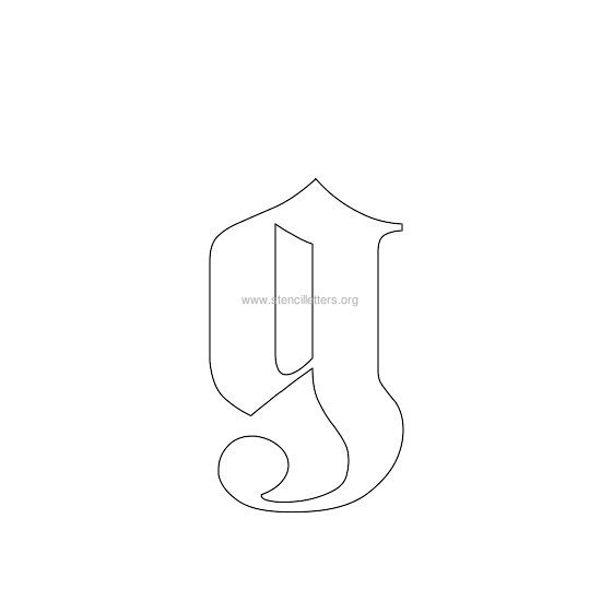 Lowercase Old English Wall Stencil Letter G