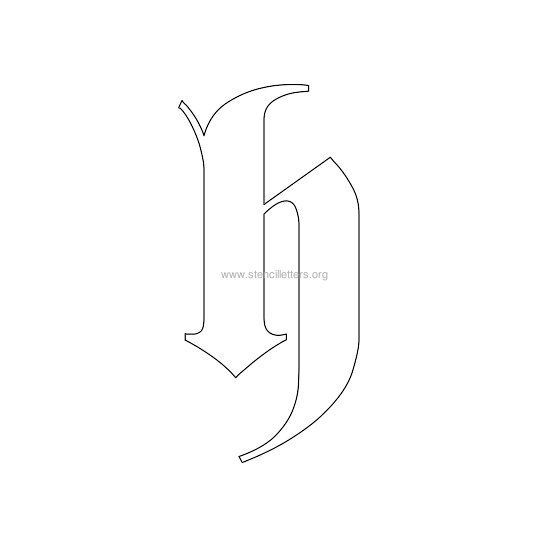 lowercase old-english wall stencil letter h