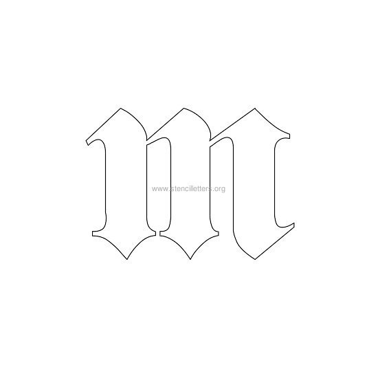 lowercase old-english wall stencil letter m
