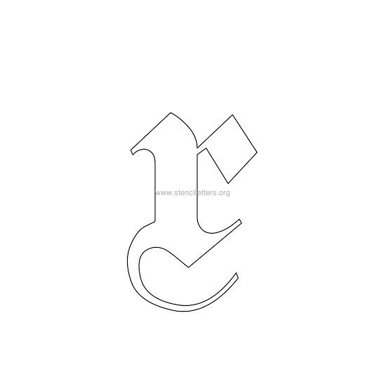 lowercase old-english wall stencil letter x