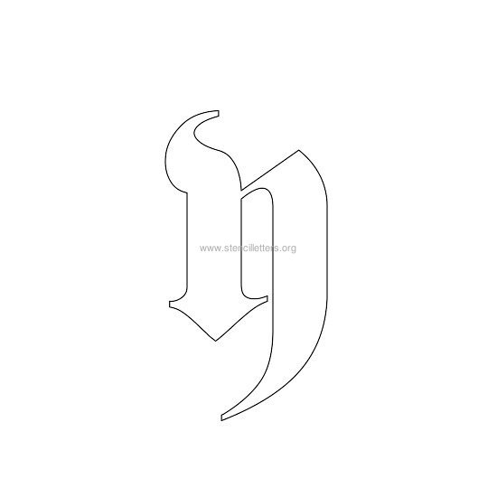 lowercase old-english wall stencil letter y