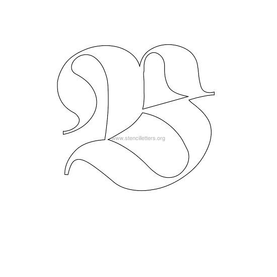 uppercase old-english wall stencil letter b