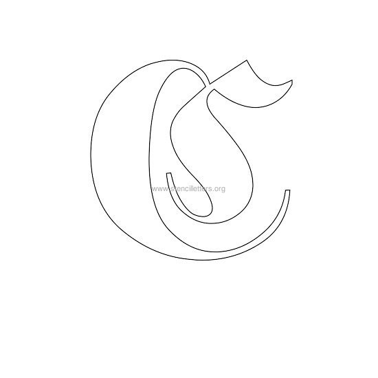 uppercase old-english wall stencil letter c