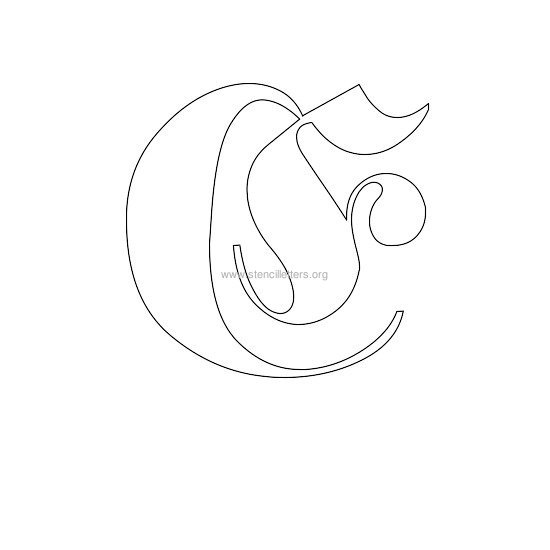 uppercase old-english wall stencil letter e