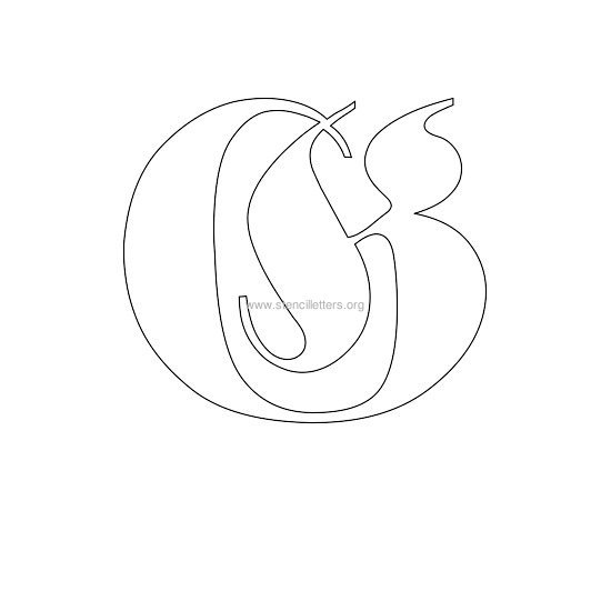 uppercase old-english wall stencil letter g