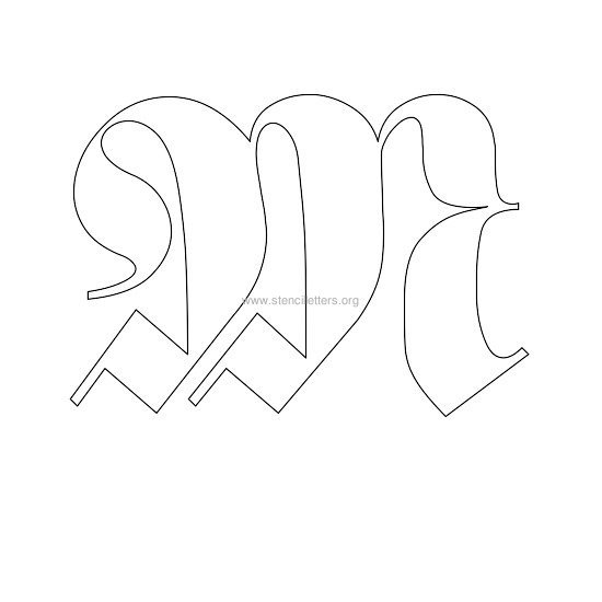 uppercase old-english wall stencil letter m