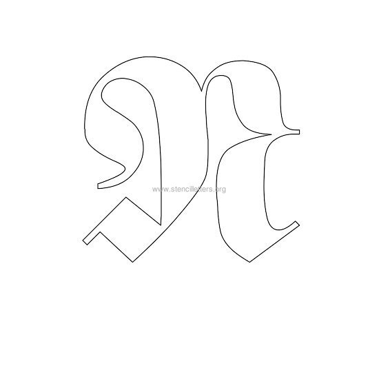 uppercase old-english wall stencil letter n
