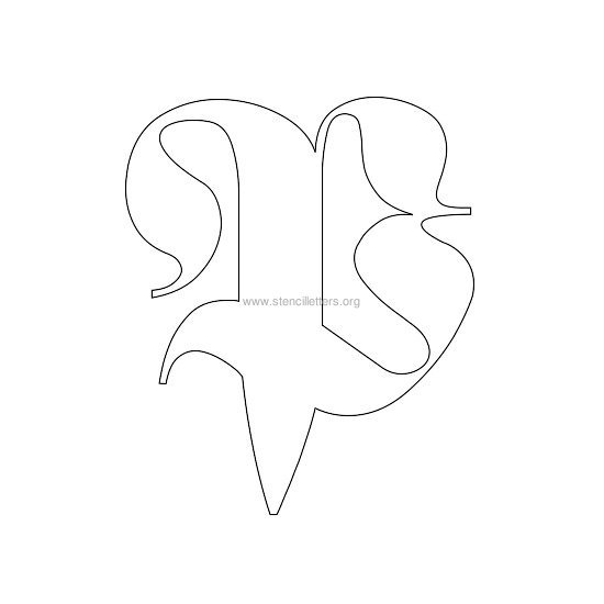 uppercase old-english wall stencil letter p
