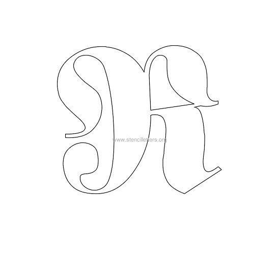 uppercase old-english wall stencil letter r