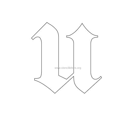 uppercase old-english wall stencil letter u