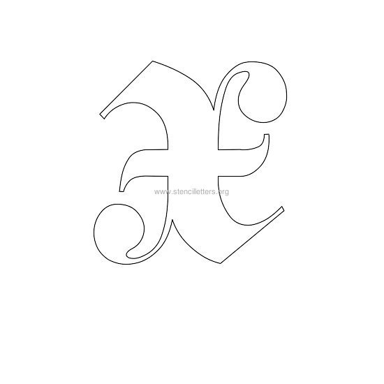 uppercase old-english wall stencil letter x
