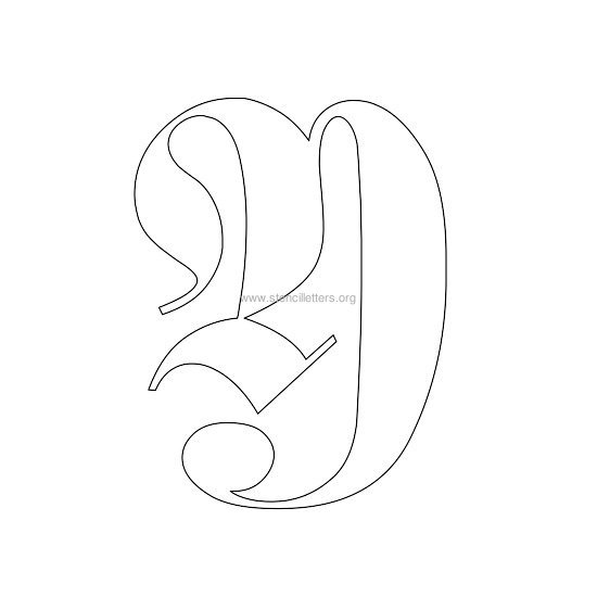 uppercase old-english wall stencil letter y