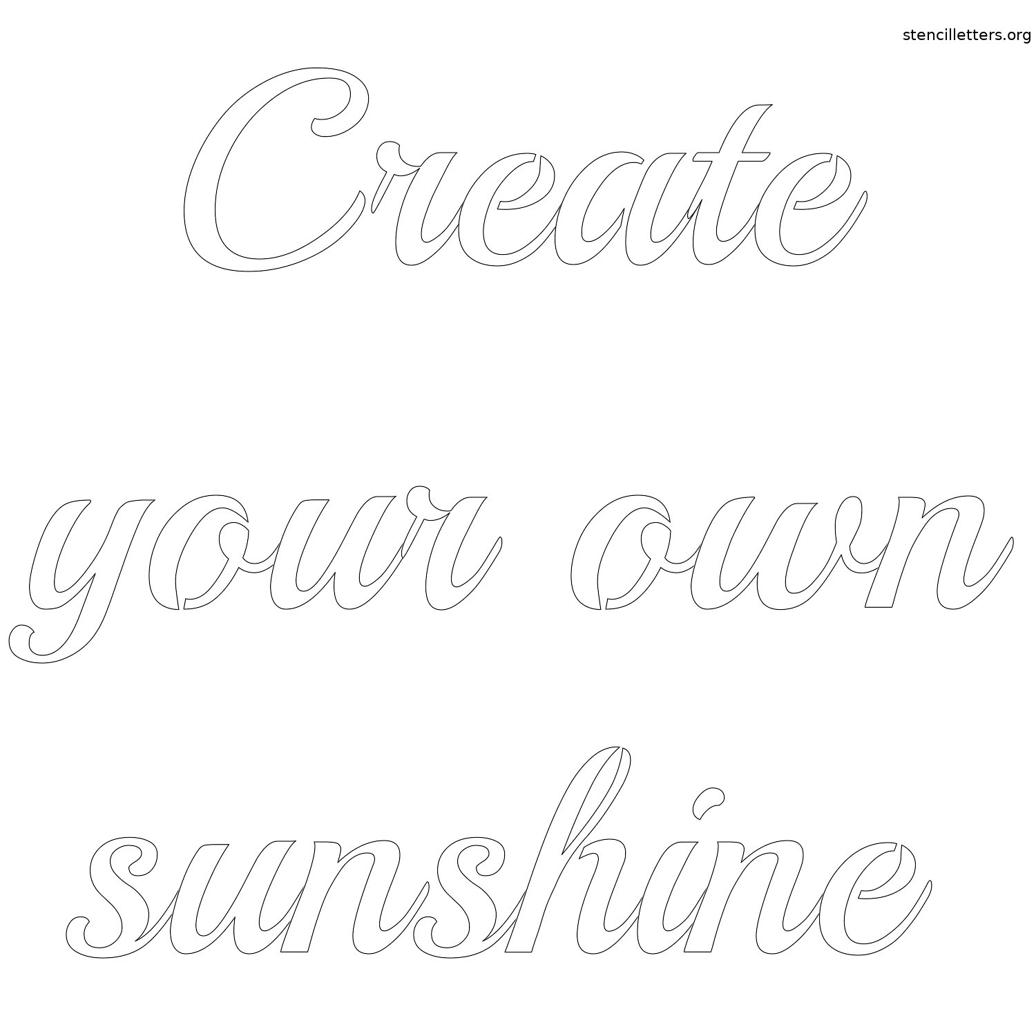 picture relating to Calligraphy Stencils Printable referred to as Produce your personal sun free of charge printable letter stencil