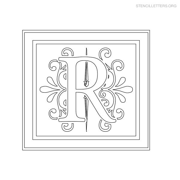 Stencil Letter Decorative R