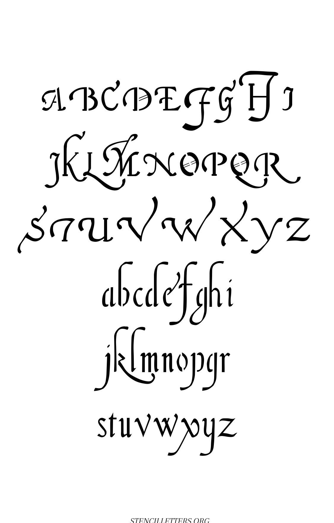 16th Century Cursive free printable letter stencils
