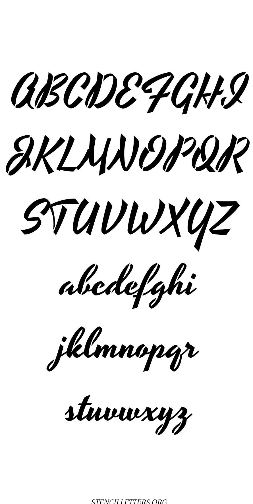 1940's Brushed Cursive free printable letter stencils
