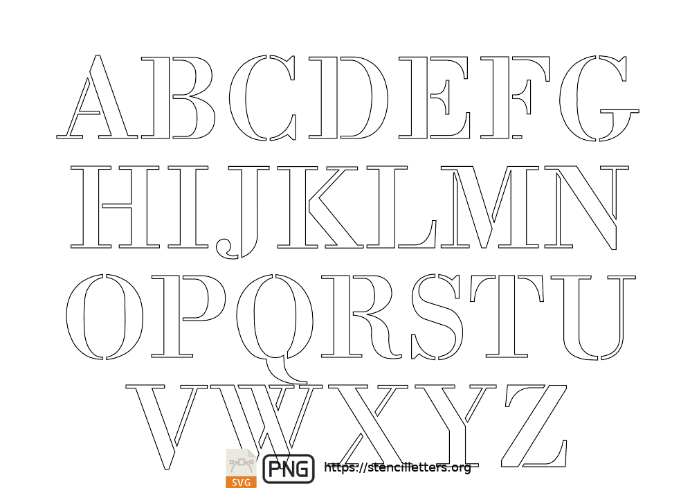 1700's Didone Script uppercase letter stencils