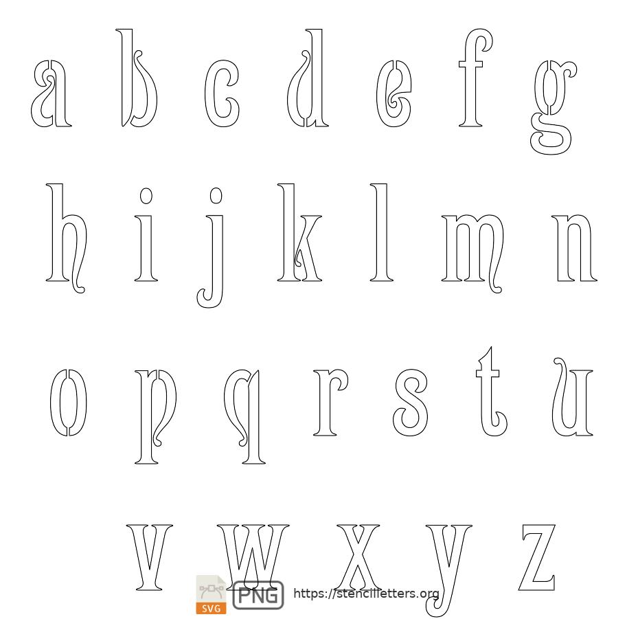 1800's Art Nouveau lowercase letter stencils
