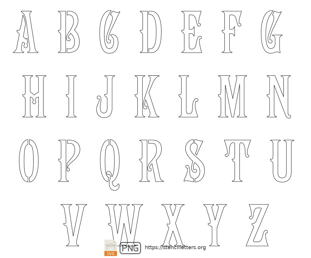 1800's Art Nouveau uppercase letter stencils