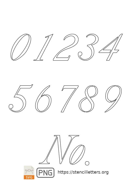 18th Century Serif Italic number stencils