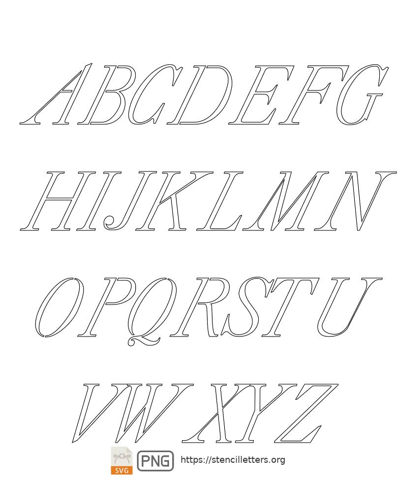 18th Century Serif Italic uppercase letter stencils