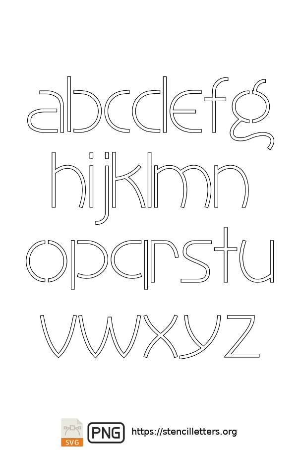 30's Artistic Gothic lowercase letter stencils