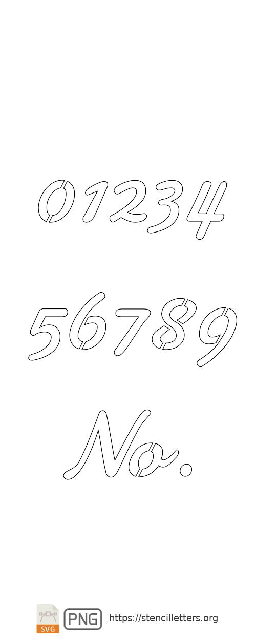 50's Casual Cursive number stencils