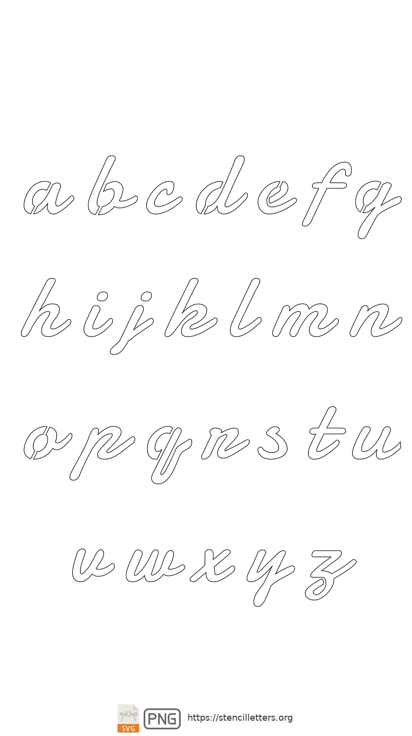 50's Casual Cursive lowercase letter stencils