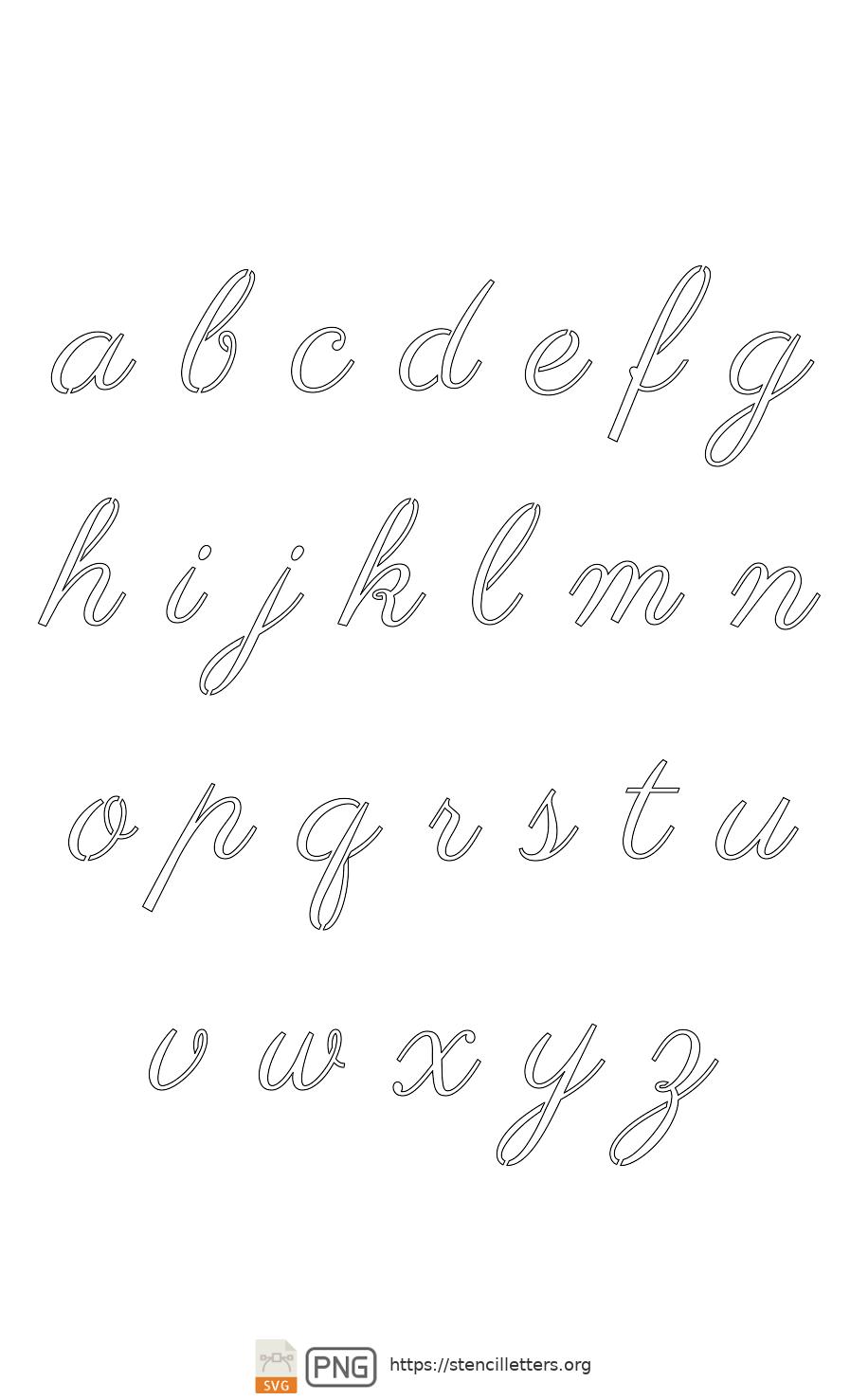 60's Retro Calligraphy lowercase letter stencils