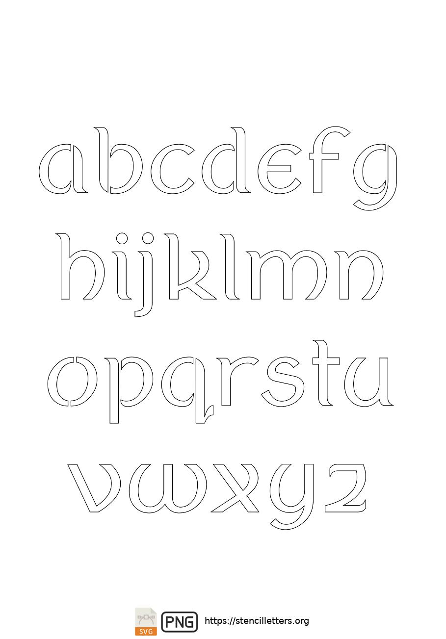 Ancient Italic Celtic lowercase letter stencils