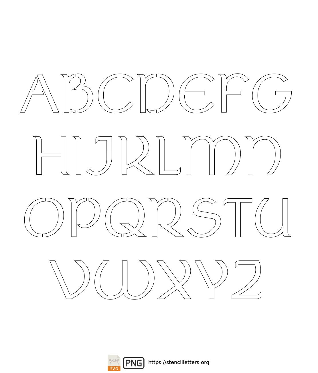 Ancient Italic Celtic uppercase letter stencils