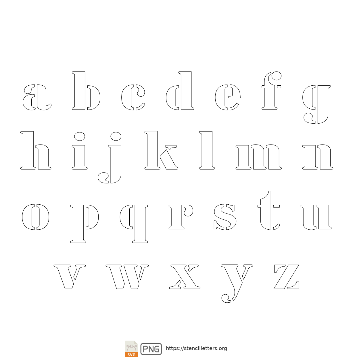 Army Industry lowercase letter stencils