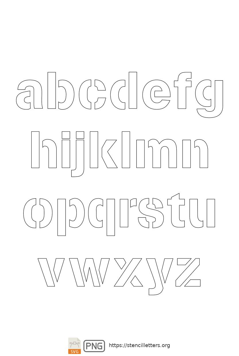 Army Light Sans lowercase letter stencils