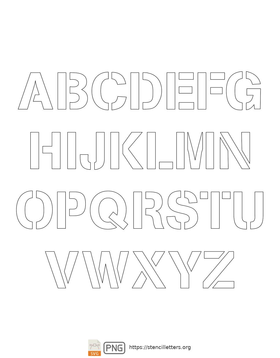 Army Light Sans uppercase letter stencils