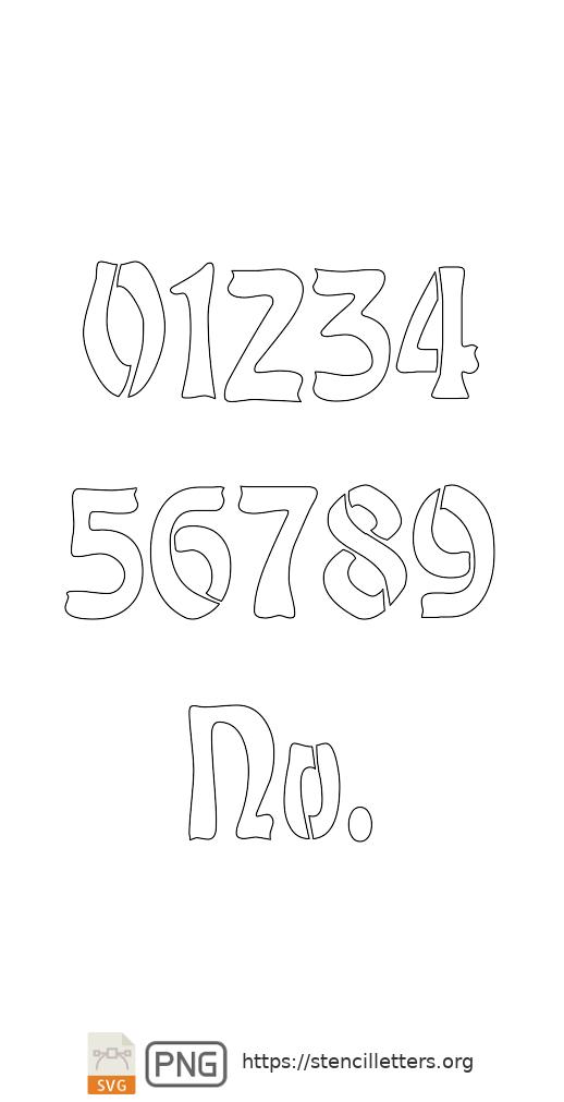 Baroque Art Nouveau number stencils