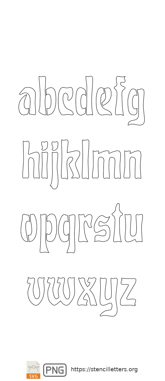 Baroque Art Nouveau lowercase letter stencils