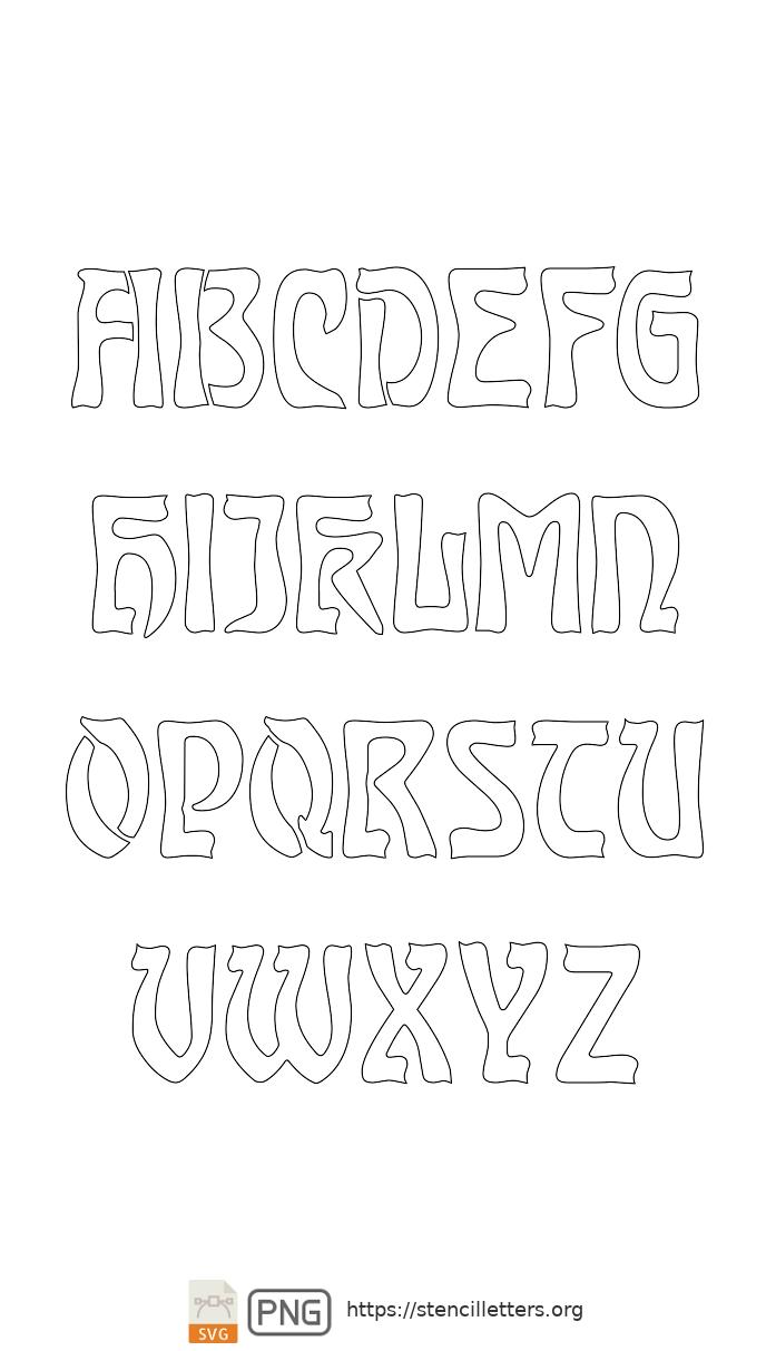 Baroque Art Nouveau uppercase letter stencils