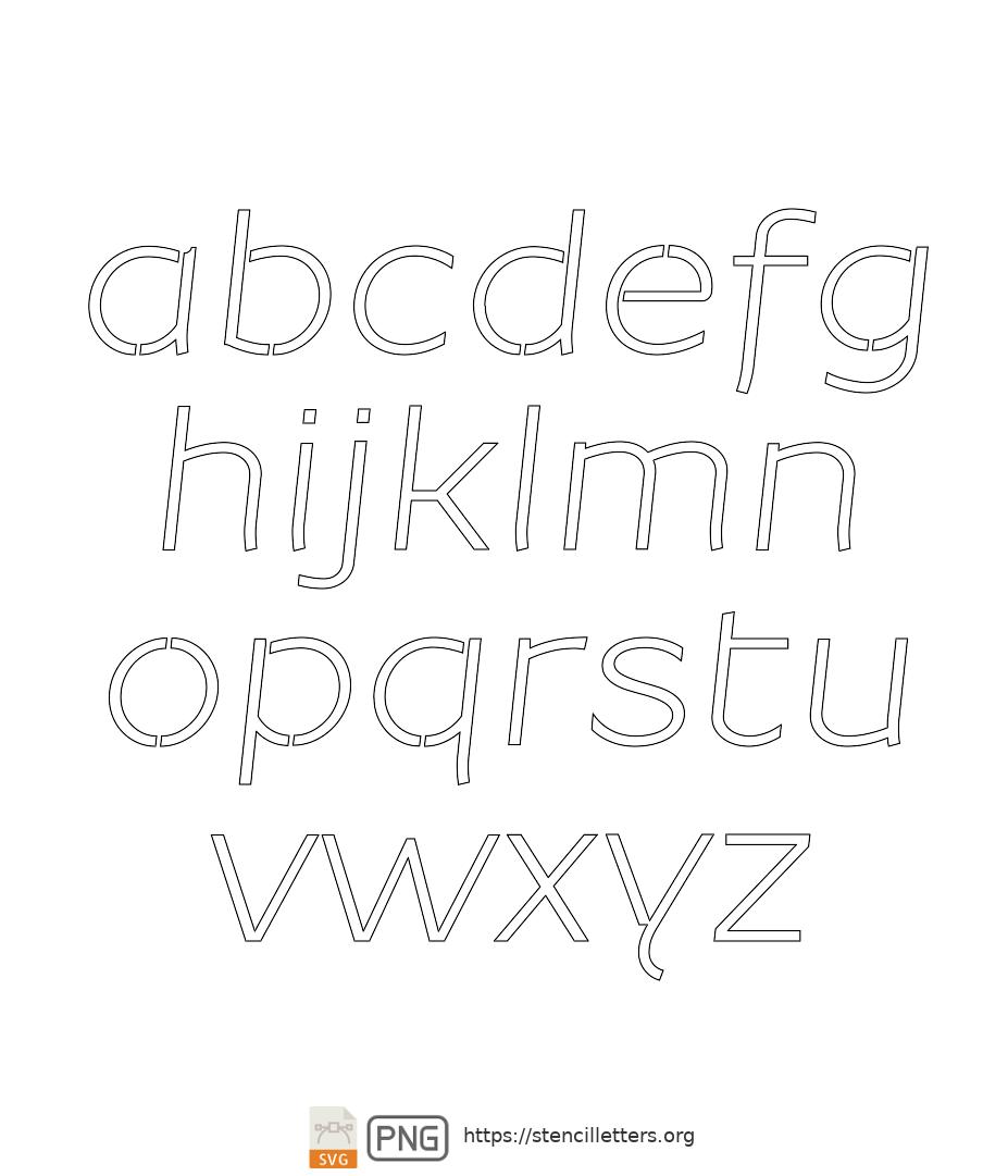 Beautiful Sans Italic lowercase letter stencils