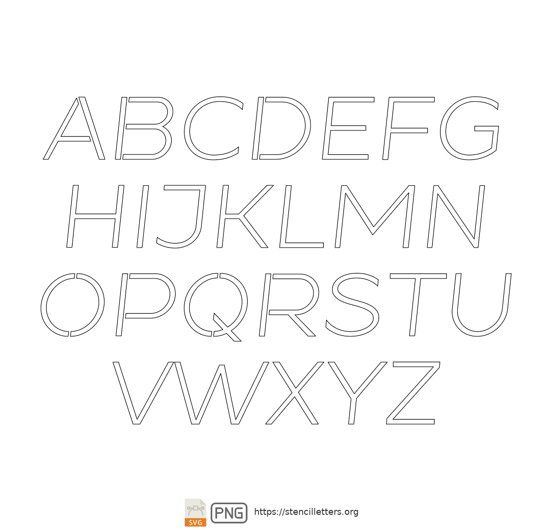 Beautiful Sans Italic uppercase letter stencils