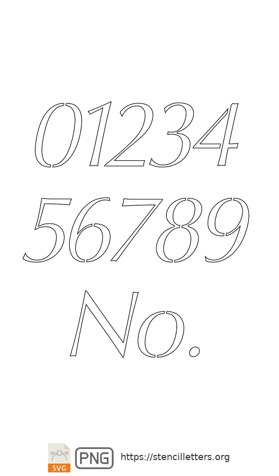 Bold Headline Sans Italic number stencils
