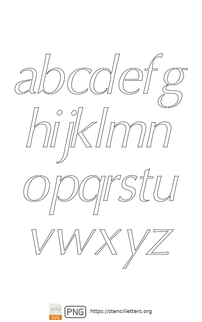 Bold Headline Sans Italic lowercase letter stencils