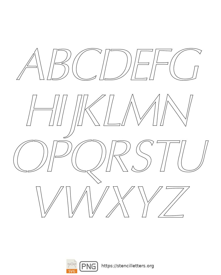 Bold Headline Sans Italic uppercase letter stencils