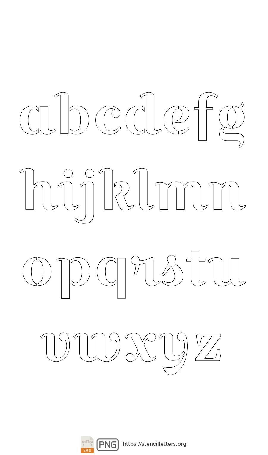 Bridal Wedding Script lowercase letter stencils