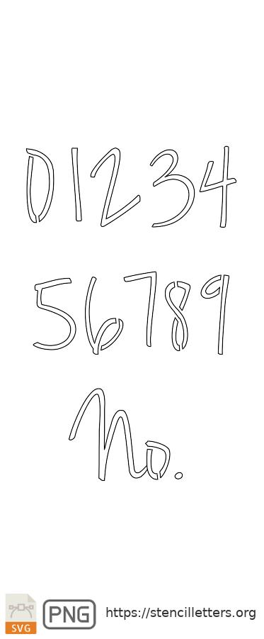 Casual Handwritten Cursive number stencils