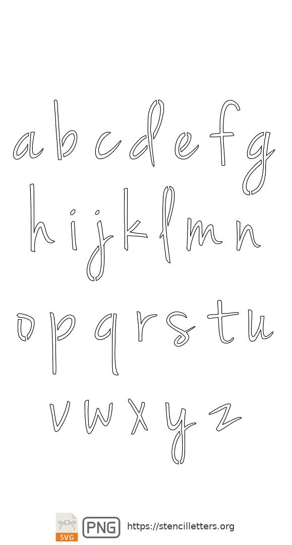 Casual Handwritten Cursive lowercase letter stencils