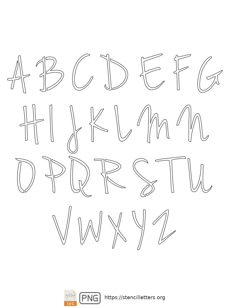 Casual Handwritten Cursive uppercase letter stencils