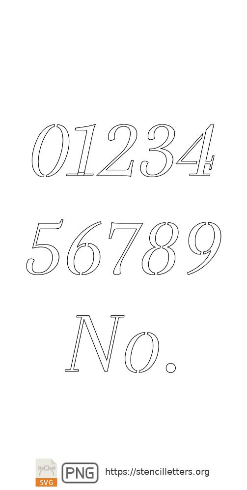 Classic Italic Serif number stencils