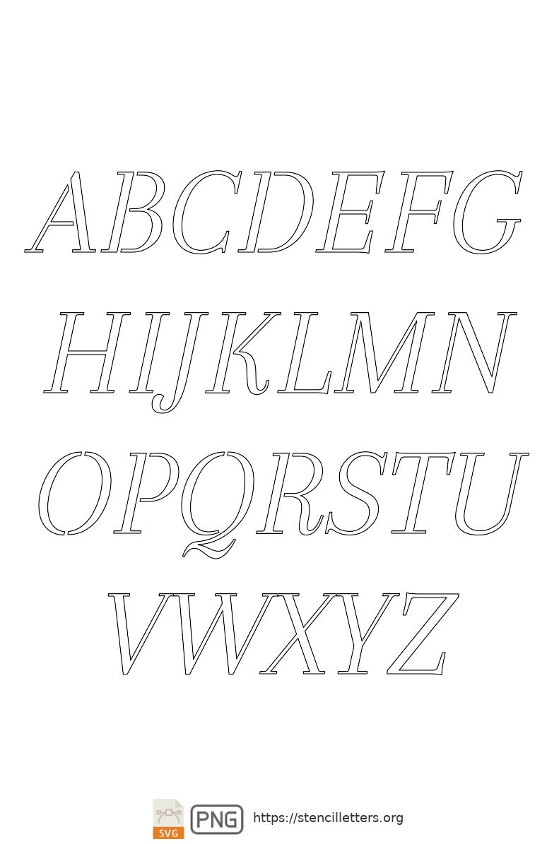 Classic Italic Serif uppercase letter stencils